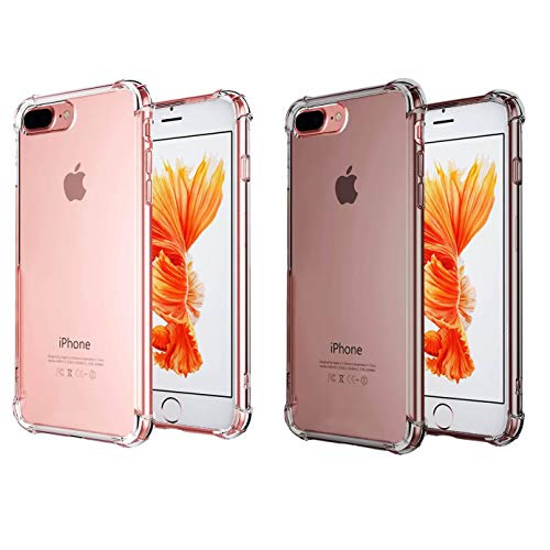 CaseHQ [2pack] case Compatible with iPhone 7 Plus Case, iPhone 8 Plus Case,Crystal Clear Shock Absorption Technology Bumper Soft TPU Cover Bumper Slim Fit,Heavy Duty Protection -Clear+Clearblack