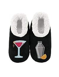 Snoozies Womens Classic Splitz Applique Slipper Socks - Iceskater, Large