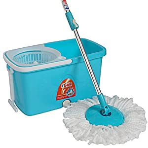 Gala Popular Spin Mop – With easy wheels, long handle, microfibre refill and water outlet – in Blue with White, Standard…