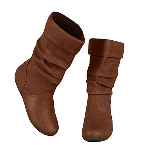 Syktkmx Womens Slouchy Boots Winter Wide Mid Calf Flat Low Heel Closed Toe Under Knee Boots Brown