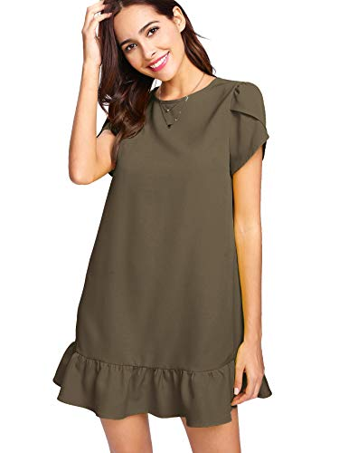 Verdusa Women's Round Neck Petal Short Sleeve Ruffle Hem Tunic Dress Green XS