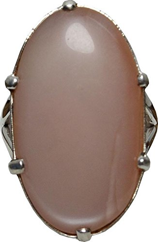 Peach Moonstone Ring (Aldomin Natural Peach Moonstone Healing Crystal Ring In .925 Sterling Silver)
