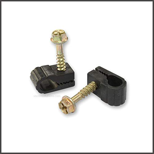 STEREN Grip-Clip Single Coaxial Cable Mounting Fastener Clips, 100ct Black