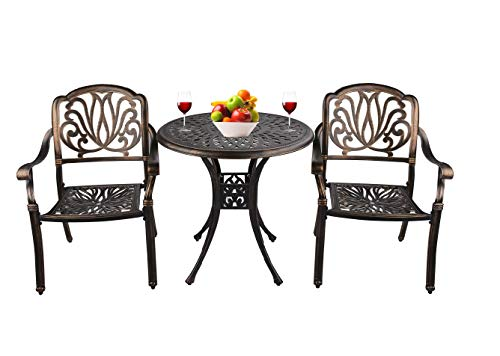 Grepatio 3 Piece All Weather Cast Aluminum Dining Set – 2 Patterned Back Chairs, 1 Bistro  ...