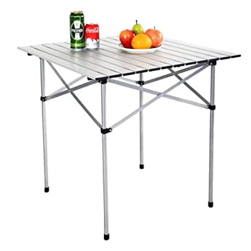 DAPP Inc 28 x28 Roll Up Portable Folding Camping Square Aluminum Picnic Table w Bag