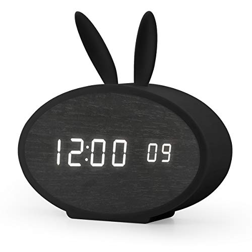 (Aitey Digital Alarm Clock, LED Clock with Rabbit Silicon Cover for Kids, 3 Alarm and Sound Control, Wood Clock for Bedroom, Kids' Room Décor, USB/Battery Powered (Black))