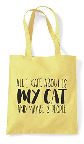 Three Is Shopper Lemon My About Themed And Funny I Care All Animal Maybe People Tote Cat Cute Bag BtawR8Tq