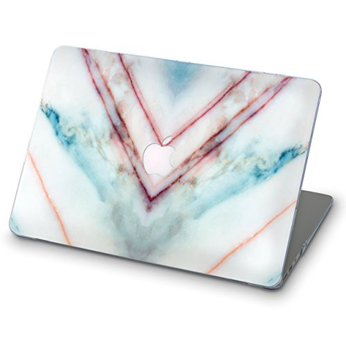 Price comparison product image OhioCases Patterned Full Cover Hard Shell Case for Apple Macbook Pro 13.3 Inch Late 2016 Model A1708 NO Touch Bar (Pink Blue Stripped Marble)