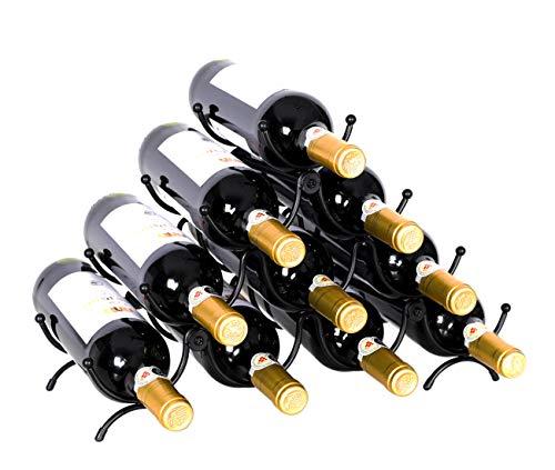 (PAG 10 Bottles Free Standing Countertop Metal Wine Rack Tabletop Wine Storage Holders Stands for Standard Wine Bottles, Black)