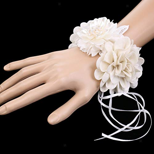 BROSCO Delicate Bride Bridesmaid Hand Wrist Corsage Wedding Fabric Crystal Flower