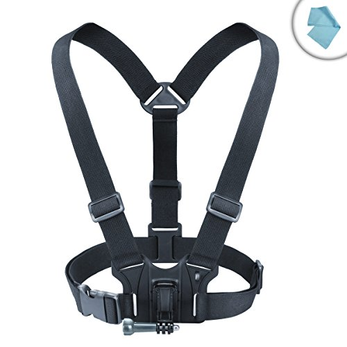 USA Gear Action Cam Adjustable Chest Mount Harness Elastic Stretch-Fit Straps Works Kodak PixPro SP360 4K, Ion Air Pro Lite, Xiaomi Yi 4K Action Camera More