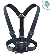 Action Cam Adjustable Chest Mount Harness with Elastic Stretch-Fit Straps by USA Gear - Works With Kodak PixPro SP360 4K , Ion Air Pro Lite , Xiaomi Yi 4K Action Camera and More