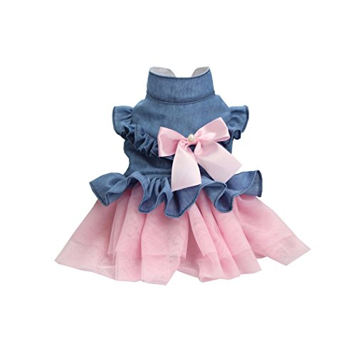 Lovely princess fashion denim bowknot dresses costume pet puppy dress clothes - Picture Simulator Frame
