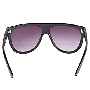 3748a59149f VIVIENFANG Unisex Ombre Flat Top Oversized Aviator Sunglasses Polarized  P1835 Bright Black  Amazon.co.uk  Clothing