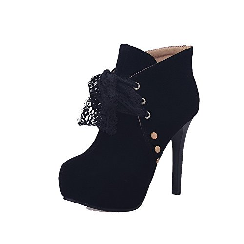 Allhqfashion Mujeres Frosted Lace-up Round Toe Tacones Altos Botines Negros