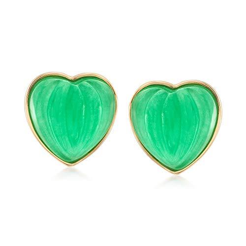 Ross-Simons 13mm Carved Green Jade Heart Earrings in 14kt Yellow Gold