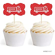 Andaz Press Birthday Cupcake Toppers DIY Party Favors Kit, Firetruck Double-Sided, 18-Pack