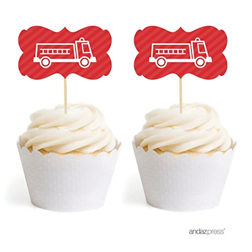 Andaz Press Birthday Cupcake Toppers DIY Party Favors Kit, Firetruck Double-Sided, (Truck Birthday Party Favors)