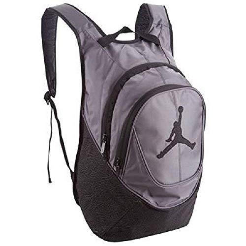 NIKE Air Jordan Jumpman 23 Backpack Book Bag Laptop Tablet Storage (Wolf Grey/Black Retro Elephant Print) -