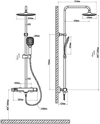 Homelody 38ºC Termostatica 3 Funciones Columna de Ducha Conjunto de Ducha Ducha con Barra Adjustable Sistema de Ducha Ducha de Mano Ducha de Lluvia Set de Ducha Sistema de Ducha Grifos de