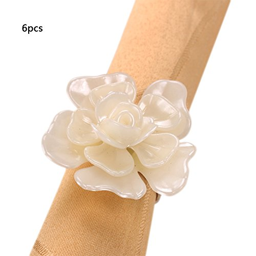 Fitlyiee 6 Pcs Peony Shape Napkin Rings Stainless Steel Napkin Rings Adornment Napkin Holder for Every Day Use White