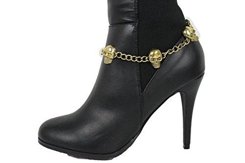 TFJ Women Boot Bracelet Western Gold Metal Chain Shoe Bling Skeleton Skull Charm Anklet Strap Halloween (Kim Kardashian Halloween Costume For Sale)