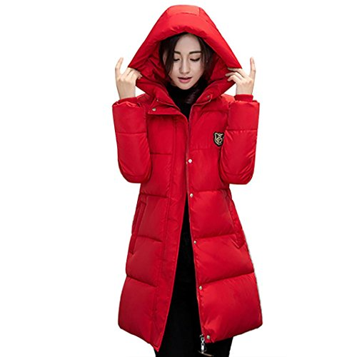 Jushye Hot Sale!!! Women's Down Jacket Coat, Ladies Solid Casual Thicker Winter Outwear Slim Down Lammy Long Overcoat (Red, M)
