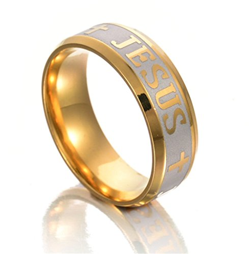 GAMT High Quality Large Size 8mm 316 Titanium Steel Jesus Cross Letter Bible Wedding Band Ring For Men Women Jewelry Gold - Ring Jesus Band
