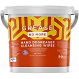 """Grease No More Heavy Duty Hand Degreaser Cleaning Wipes 135 Count 10.5"""" x 10"""" Size Strechable Tough Towel, No Harsh Chemical (2 Pack, Total 270 Wipes)"""