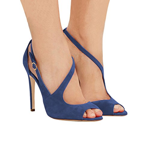 Fsj Vrouwen Peep Toe Buckled Sandalen Hollen Strappy Hakken Cocktail Party Schoenen Maat 4-15 Us Blue