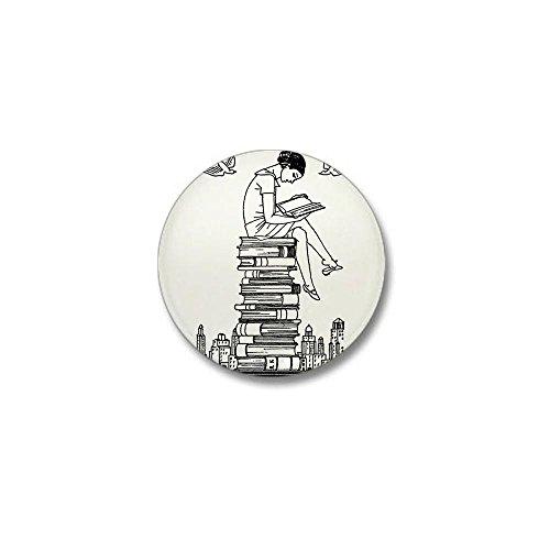 CafePress Reading Girl atop books Mini Button 1