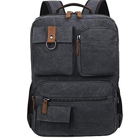 Fafada Mochila para Portatil Hombre Mujer Casual Lona Vintaje Retro Cremallera Backpack PC Laptop 14.6 Pulgadas Mochila Escolar Trabajo Negocio Viaje ...