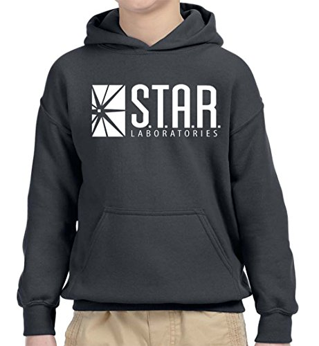 Sleeve Star Youth Long - New Way 859 - Youth Hoodie Star Laboratories Labs Comic Hero Unisex Pullover Sweatshirt Large Charcoal