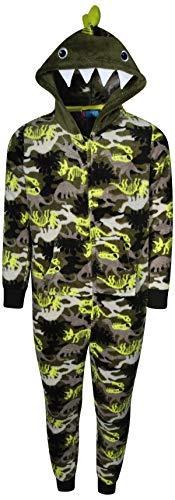Only BoysPlush FleeceOnesie Pajamas with Character Hood, Green Dinosaur, Size 8/10'