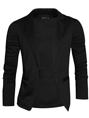 uxcell Men Notched Lapel One Button Front Mock Pockets Knitted Cardigan Blazer Black L