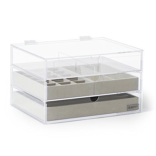 beautify-acrylic-jewelry-cosmetic-organizer-box-with-3-storage-trays-gray-suede-dividers-clear