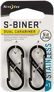 Nite Ize Size-1 S-Biner Dual Carabiner, Stainless-Steel, Black, 2-Pack