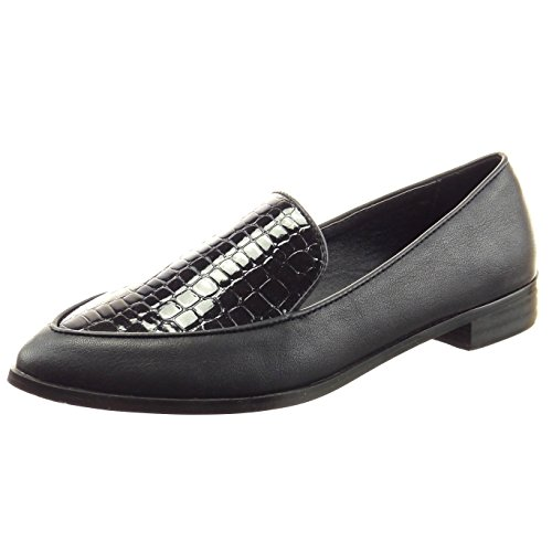 Sopily - Scarpe da Moda Mocassini ballerina alla caviglia donna pelle di serpente verniciato Tacco a blocco 2.5 CM - Nero
