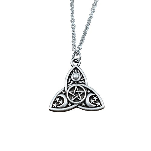 SanLan Triple Moon Goddess Triquetra Pentacle Necklace Pagan Wicca Pendant Necklace