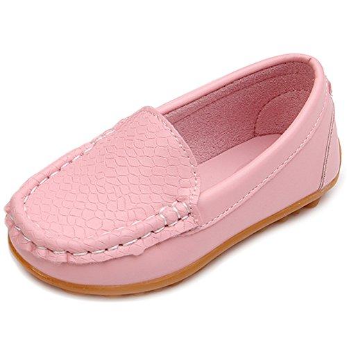 LONSOEN Toddler/Little Kid Boys Girls Soft Split Leather Loafer Slip-On Boat-Dress Shoes/Sneakers,Pink,11 M US Little Kid (Pink Kids Dress Shoes)