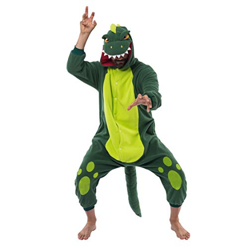 Spooktacular Creations Dinosaur Pajamas Unisex Plush Cosplay Halloween Animal Costume Onesie Adult Size (Medium)