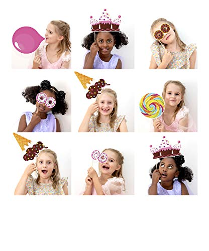 Candy Land Theme Photo Booth Backdrop and Props - Make a Photo Booth and Photography Backdrop for Parties | Candy Birthday Party Decorations for Girls & Candy Birthday Party Supplies | 17 Piece Set ()