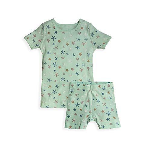 Skylar Luna Girls Short Sleeves Organic Cotton Pajamas- Sizes 18 to 24 Months- Starfish]()