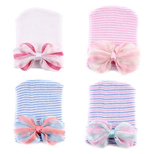 (Yinuoday Newborn Baby Hospital hat Infant Nursery Beanie Hat Cap Stripe Knit Cap with Big Bow (4pcs)
