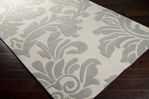 Hand Tufted Bay Leaf (Surya Athena ATH-5073 Classic Hand Tufted 100% Wool Bay Leaf 6' x 9' Paisleys and Damasks Area Rug)
