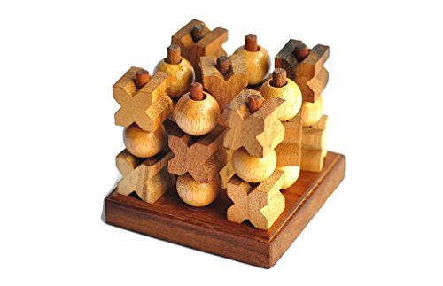 Wooden Games & Puzzles Tic-Tac-Toe 3D Wooden Brain Teasers Strategy Game with collection box cube box (Tic Tac Collection Toe)