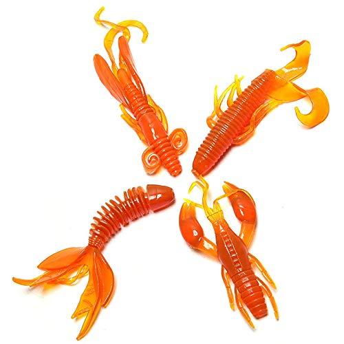 Ameglia 4 Pcs/Set Minnow Soft Bait Artificial Fishing Lure Worm Shrimp Tackle KitBIJ KK (Color - Orange)