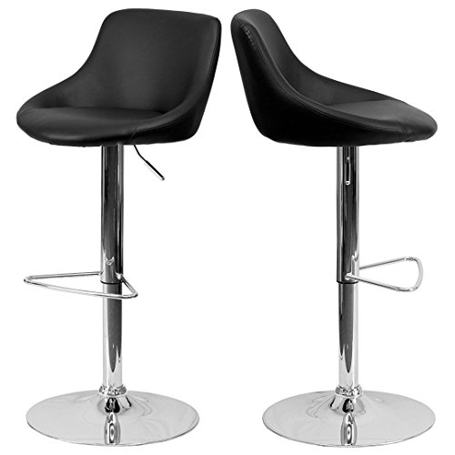 - Modern Design Bar Stool Bucket Seat Design Hydraulic Adjustable Height 360-Degree Swivel Seat Sturdy Steel Frame Chrome Base Dining Chair Bar Pub Stool Home Office Furniture - Set of 2 Black #1985