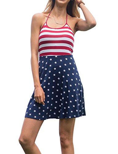 Ivay Women's Sleeveless Spaghetti Strap Stars and Stripes Patriotic Short Dresses
