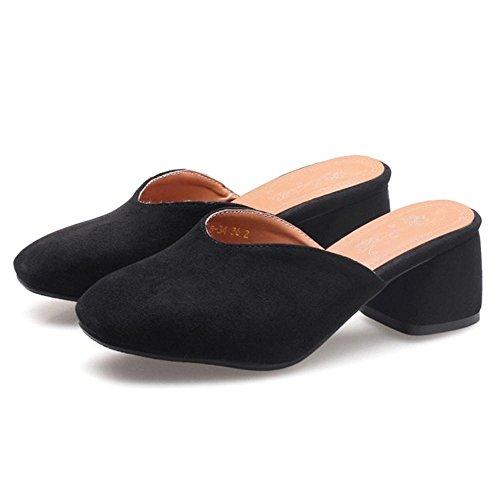 RAZAMAZA Women Slip On Mule Shoes Black iwCHU1NRw